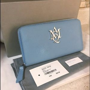 Auth. Alexander McQueen Blue Continental Wallet